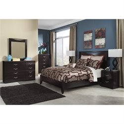 Ashley Zanbury 6 Piece Wood Queen Panel Bedroom Set in Merlot