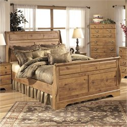 Ashley Bittersweet Wood King Sleigh Bed in Light Brown