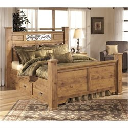 Ashley Bittersweet Wood Queen Drawer Panel Bed in Light Brown