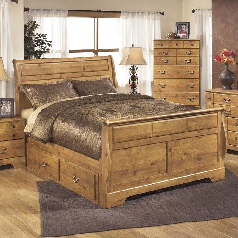 Ashley Bittersweet Wood Queen Drawer Sleigh Bed in Light ...