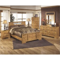 Ashley Bittersweet 6 Piece Wood Queen Panel Bedroom Set in Light Brown