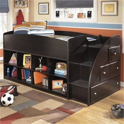Ashley Embrace 8 Cubby 3 Drawer Wood Twin Right Loft Bed in Merlot