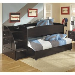 Embrace Wood Twin Lower and Upper Loft Bed in Merlot
