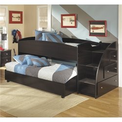 Ashley Embrace Wood Twin Right Lower and Upper Loft Bed in Merlot