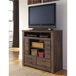 Ashley Quinden 4 Drawer Wood Media Chest in Dark Brown