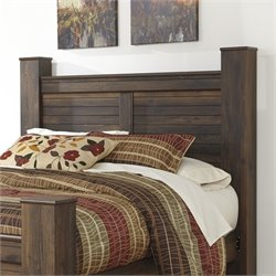 Ashley Quinden Wood Queen Poster Panel Headboard in Dark Brown