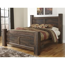 Quinden Wood Poster Panel Bed in Dark Brown
