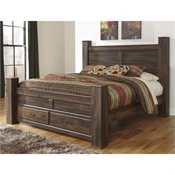 Ashley Quinden Wood Queen Drawer Panel Bed in Dark Brown