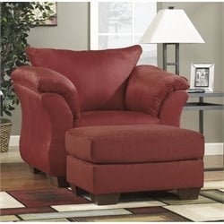 Ashley Darcy Fabric Chair with Ottoman in Salsa