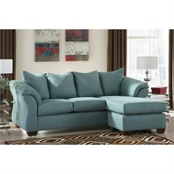 Ashley Darcy Fabric 2 Piece Chaise Sofa in Sky
