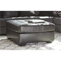 Ashley Owensbe Faux Leather Oversized Accent Ottoman in Charcoal