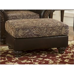 Ashley Macneil Faux Leather Ottoman in Umber