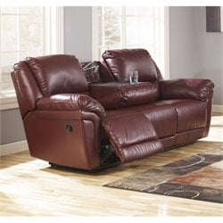 Ashley Magician Leather Reclining Sofa with Drop Down Table in Garnet