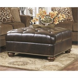 Ashley Presidio Faux Leather Oversized Accent Ottoman in Antique