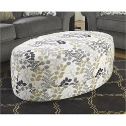 Ashley Makonnen Fabric Oversized Accent Ottoman in Winter