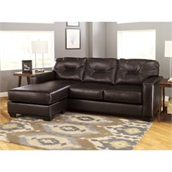 Ashley Alluvia Reversible 2 Piece Faux Leather Sectional in Coffee
