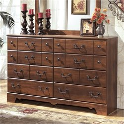 Ashley Timberline 8 Drawer Wood Double Dresser in Warm Brown