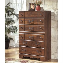 Ashley Timberline 5 Drawer Wood Chest in Warm Brown