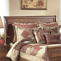 Ashley Timberline Wood Queen Sleigh Headboard in Warm Brown