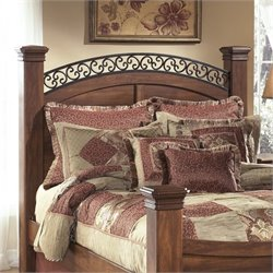 Ashley Timberline Wood Queen Poster Panel Headboard in Warm Brown