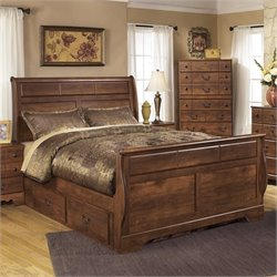 Ashley Timberline Wood Queen Double Drawer Sleigh Bed in Warm Brown