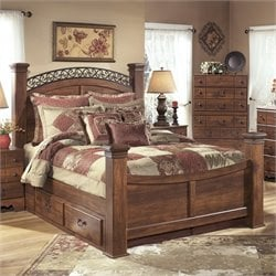 Ashley Timberline Wood Queen Drawer Panel Bed in Warm Brown