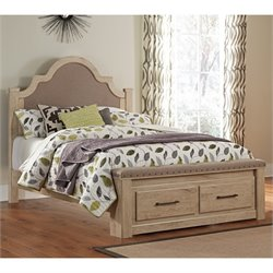 Ashley Annilynn Wood Queen Drawer Bed in Dry Cream