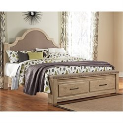 Ashley Annilynn Wood King Drawer Bed in Dry Cream