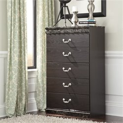 Ashley Vachel 5 Drawer Wood Chest in Dark Brown