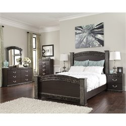Ashley Vachel 6 Piece Wood Queen Panel Bedroom Set in Dark Brown