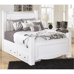 Ashley Weeki Wood Queen Drawer Panel Bed in White