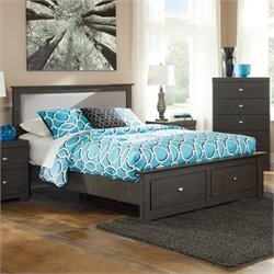 Ashley Shylyn Wood Queen Drawer Bed in Charcoal