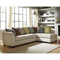 Ashley Casheral 2 Piece Right Fabric Corner Chaise Sectional in Linen