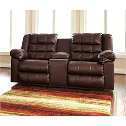 Ashley Brolayne Leather Double Reclining Console Loveseat in Saddle
