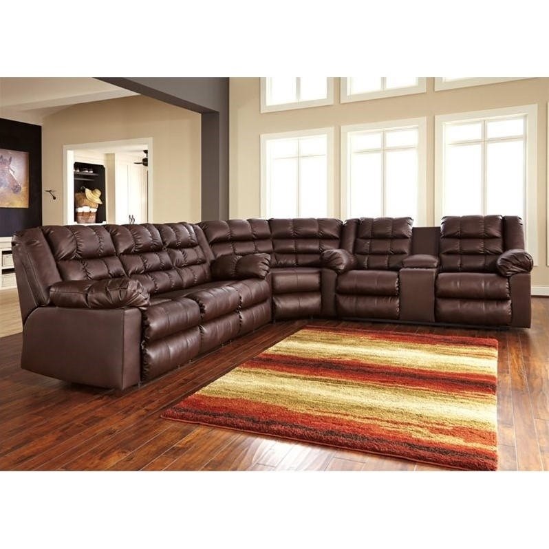 Ashley brolayne 3 piece leather corner reclining sectional for Furniture 3 rooms for 1999