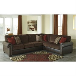 Ashley Arlette 2 Piece Faux Leather Sectional in Truffle