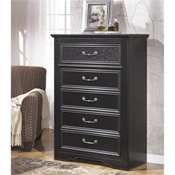 Ashley Cavallino 5 Drawer Wood Chest in Black