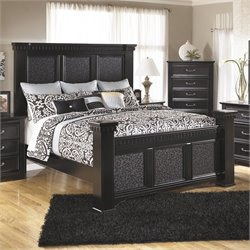 Ashley Cavallino Wood King Mansion Panel Bed in Black