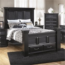 Ashley Cavallino Wood Queen Mansion Drawer Bed in Black