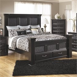 Ashley Cavallino Wood California King Mansion Drawer Bed in Black