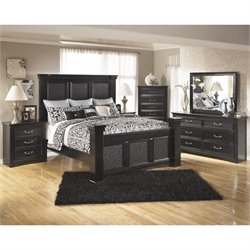 Cavallino 6 Piece Wood Panel Bedroom Set in Black