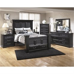 Cavallino 6 Piece Wood Drawer Bedroom Set in Black
