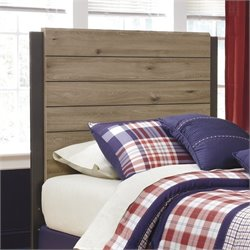 Ashley Dexifield Wood Twin Panel Headboard in Dry Brown