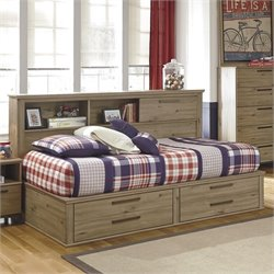 Ashley Dexifield Wood Twin Bookcase Mates Bed in Dry Brown