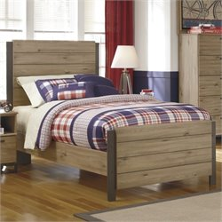 Ashley Dexifield Wood Twin Panel Bed in Dry Brown