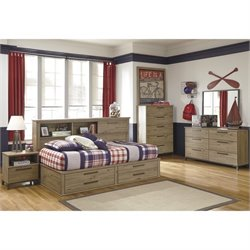 Ashley Dexifield 5 Piece Wood Twin Bookcase Bedroom Set in Dry Brown