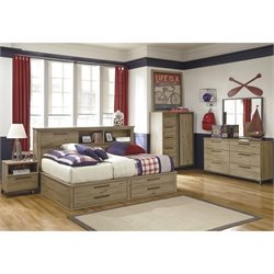 Ashley Dexifield 5 Piece Wood Full Bookcase Bedroom Set in Dry Brown