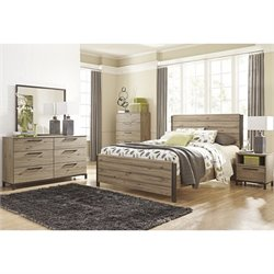 Ashley Dexifield 5 Piece Wood Queen Panel Bedroom Set in Dry Brown