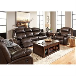 Ashley Branton 3 Piece Leather Reclining Sofa Set in Antique