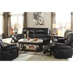 Ashley Paron 3 Piece Leather Reclining Sofa Set in Antique